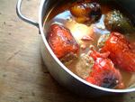 Nach anbraten, kochen und andicken der Soße