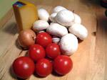 Tomaten, Zwiebel, Champignons und Käse