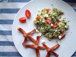 Rührei mit Spinat und griechischem Fetakäse